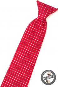 Czerwony krawat chłopięcy z białą kropką