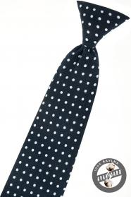 Granatowy krawat chłopięcy z białą kropką