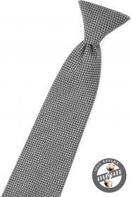 Czarny krawat chłopięcy z szarym wzorem