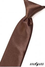 Brązowy błyszczący krawat chłopięcy