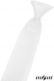 Biały krawat dla chłopca z błyszczącym paskiem