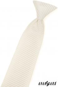 Wzorzysty krawat chłopięcy w kremowych kolorach