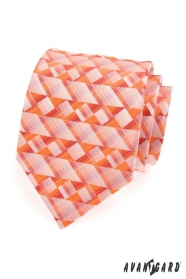 Krawat męski w pomarańczowe geometryczne kształty