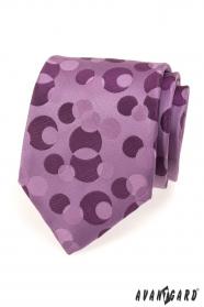 Fioletowy krawat męski z bąbelkami