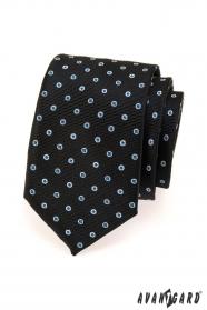 Czarny krawat męski w niebiesko-białą kropkę
