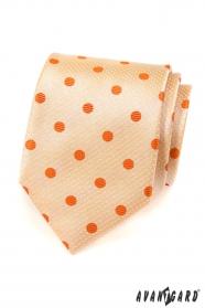 Krawat w kolorze łososiowym z pomarańczową kropką