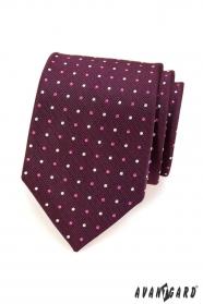 Fioletowy krawat męski w kropki