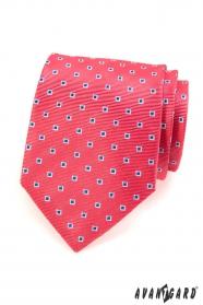 Różowy krawat męski niebiesko białe kwadraty