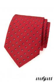 Czerwony krawat męski z czarno-białymi kwadratami