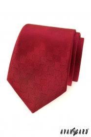 Czerwony krawat męski z przerywaną strukturą