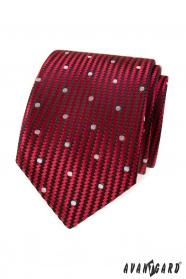 Czerwony krawat z dużymi białymi kropkami