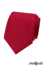 Czerwony krawat małe czarne prostokąty