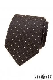 Brązowy krawat w jasne kropki