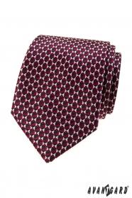 Bordowy krawat w trójkątny wzór