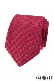 Czerwony krawat w małe niebieskie kropki