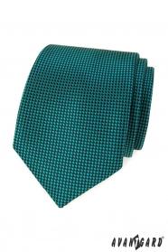 Turkusowy krawat z czarnymi kwadratami