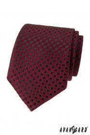 Bordowy krawat w czarny wzór