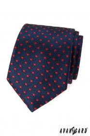 Niebieski krawat z czerwonymi kropkami