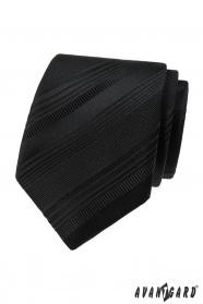 Czarny krawat w różne paski