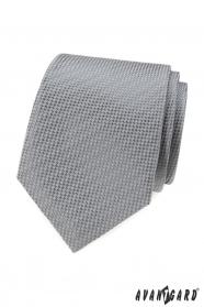 Szary krawat z przeplatanym wzorem
