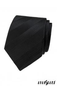 Czarny krawat męski w paski