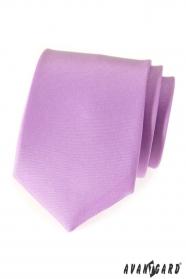 Liliowy matowy krawat