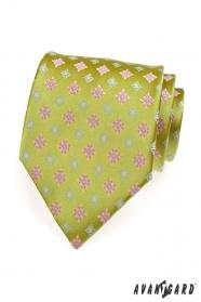 Jasnozielony krawat różowy niebieski wzór