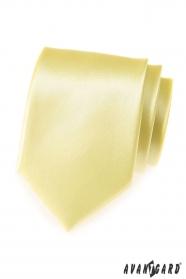 Jasnożółty męski gładki krawat