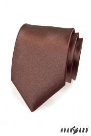 Brązowy gładki krawat dla mężczyzn