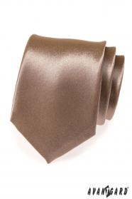 Błyszczący brązowy krawat męski
