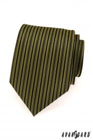 Krawat męski w zielono-czarne paski