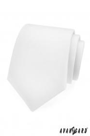 Gładki biały matowy krawat