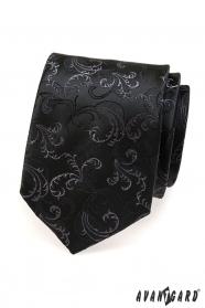Czarny krawat, delikatny wzór
