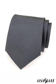 Grafitowy krawat męski w kratkę