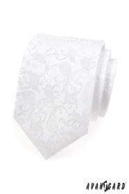 Świąteczny biały krawat z wzorem