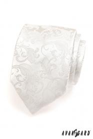 Kremowy krawat męski ze wzorem