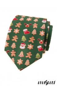Zielony krawat ze świątecznym motywem