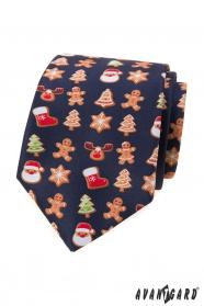 Niebieski krawat ze świątecznym motywem