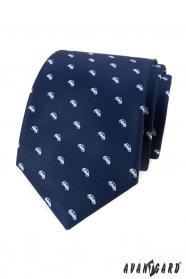 Niebieski krawat z białym motywem samochodu