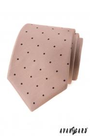 Beżowy krawat w czarne kropki