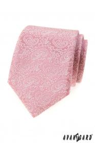 Pudrowy róż krawat z wzorem Paisley