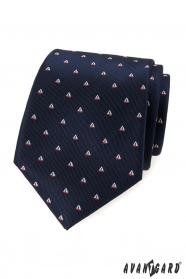 Niebieski krawat wzór żaglówka