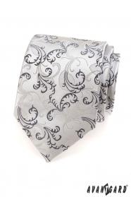 Krawat męski motywy szaro-czarne