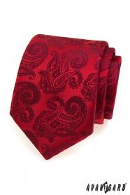 Czerwony krawat wzór paisley