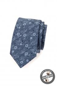 Niebieski bawełniany krawat w kwiaty