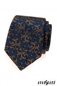Niebieski krawat z brązowymi zdobieniami