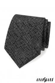 Czarny krawat męski z białym wzorem