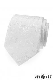 Biały krawat z błyszczącym wzorem