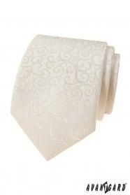 Kremowy krawat z błyszczącym wzorem