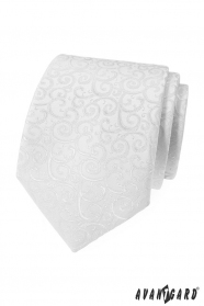 Biały krawat męski z błyszczącym wzorem
